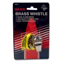 MC-88BW Brass Safety Whistle with Lanyard from Sunset Survival and First Aid, Emergency Kits, Earthquake Preparedness Supplies, School Safety, Survival Equipment, Disaster Gear