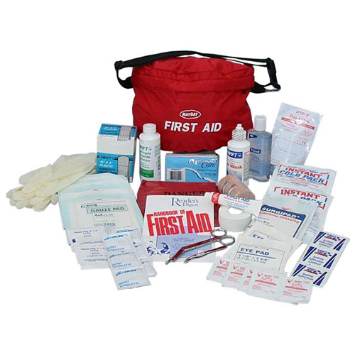 Sunset survival and first aid emergency kits safety supplies 48 piece guardian first aid fanny pack kit publicscrutiny Choice Image