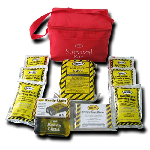 MKT3SP Basic Survival Kit in Red Cooler Bag, from Sunset Survival and First Aid, Emergency Kits, Disaster Preparedness, School Safety,