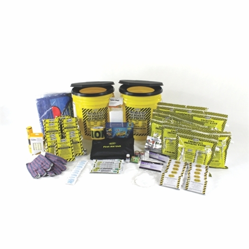 MOEK10 Deluxe 10-Person Office Emergency Survival Bucket Kit with emergency food and water from Sunset Survival and First Aid, Disaster Preparedness Kits