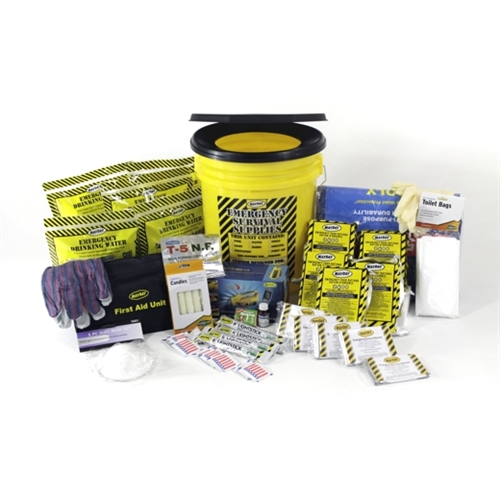 MOEK5 Deluxe 5-Person Office Emergency Survival Bucket Kit with emergency food and water from Sunset Survival and First Aid, Disaster Preparedness Kits