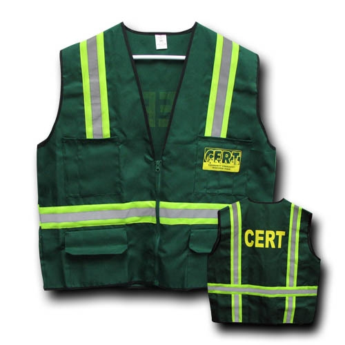 MSH55-A-CRT Deluxe 6-pocket CERT Safety Vest, Zippered with reflective stripes, from Sunset Survival and First Aid, C.E.R.T. responder kits, Emergency Supplies