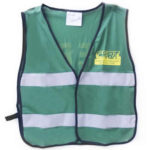 MSH55-CRT Green C.E.R.T. Mesh Safety Vest with Reflective Stripes from Sunset Survival and First Aid, Emergency Kits, CERT Supplies, Disaster Preparedness