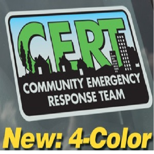 SSCRT-CLING CERT window cling decal from Sunset Survival & First Aid emergency kits, C.E.R.T. gear, disaster preparedness, safety equipment