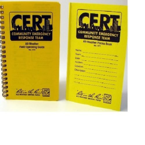 SSCRT573-571 CERT Books Combo Pack Handbook and Forms Books, from Sunset Survival and First Aid, C.E.R.T. responder kits, Emergency Supplies